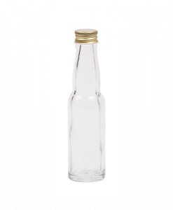 20ml flesje met zwanenhals met goudkleurige aluminium schroefdop