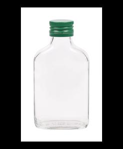 100ml flesje zakflacon met groene aluminium schroefdop met garantiering
