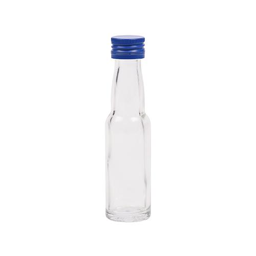20ml flesje met zwanenhals met blauwe aluminium schroefdop met garantiering