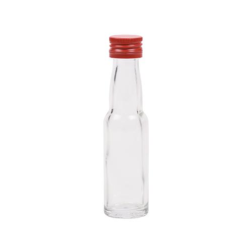20ml flesje met zwanenhals met rode aluminium schroefdop met garantiering