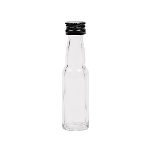20ml flesje met zwanenhals met zwarte aluminium schroefdop met garantiering