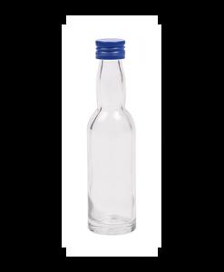 40ml flesje met zwanenhals met blauwe aluminium schroefdop met garantiering