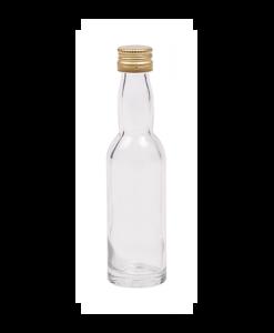 40ml flesje met zwanenhals met goudkleurige aluminium schroefdop met garantiering
