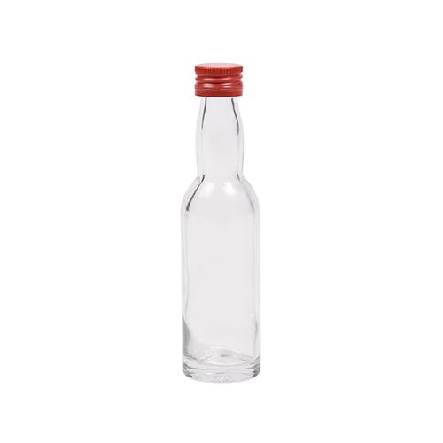 40ml flesje met zwanenhals met rode aluminium schroefdop met garantiering