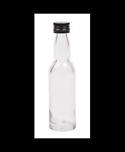40ml flesje met zwanenhals met zwarte aluminium schroefdop met garantiering