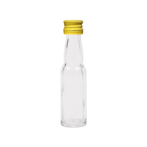 20ml flesje met zwanenhals met gele aluminium schroefdop met garantiering