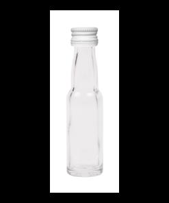 20ml flesje met zwanenhals met witte aluminium schroefdop met garantiering