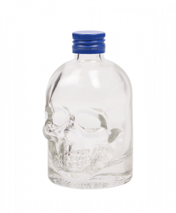 Doodskop flesjes met blauwe aluminium schroefdop om zelf te vullen