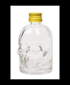 Doodskop flesjes met gele aluminium schroefdop om zelf te vullen